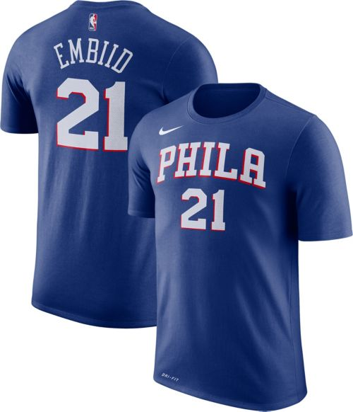 72fcaa12079f Nike Men s Philadelphia 76ers Joel Embiid  21 Dri-FIT Royal T-Shirt ...