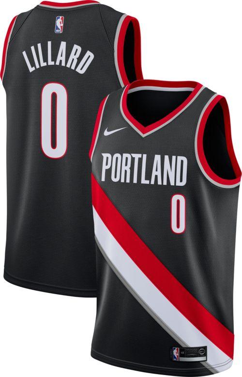 38bc08371ab6 Nike Men s Portland Trail Blazers Damian Lillard  0 Black Dri-FIT ...