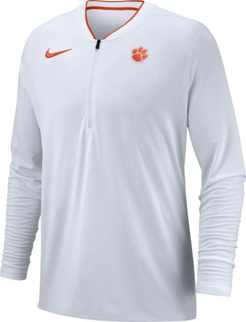 c49c9aa43d2f Nike Men s Clemson Tigers Coach Half-Zip Football Sideline White Jacket