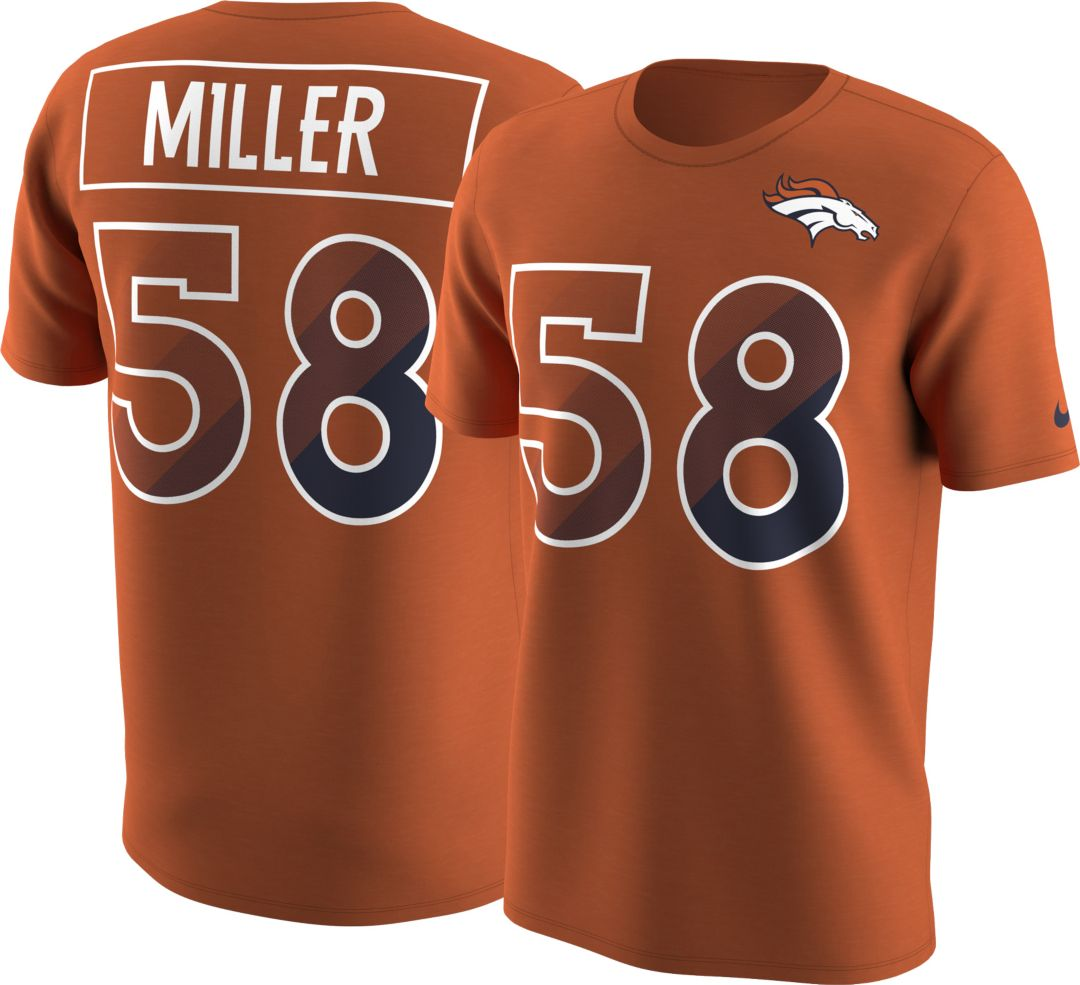 bc4f6abd Nike Men's Denver Broncos Von Miller #58 Prism Player Orange T-Shirt