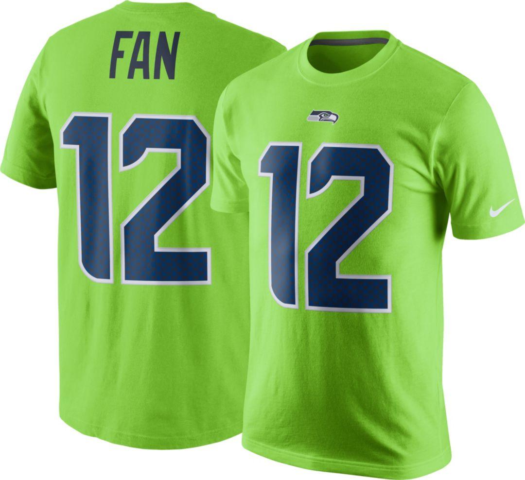 b4527036 Nike Men's Seattle Seahawks Fan #12 Color Rush Green T-Shirt