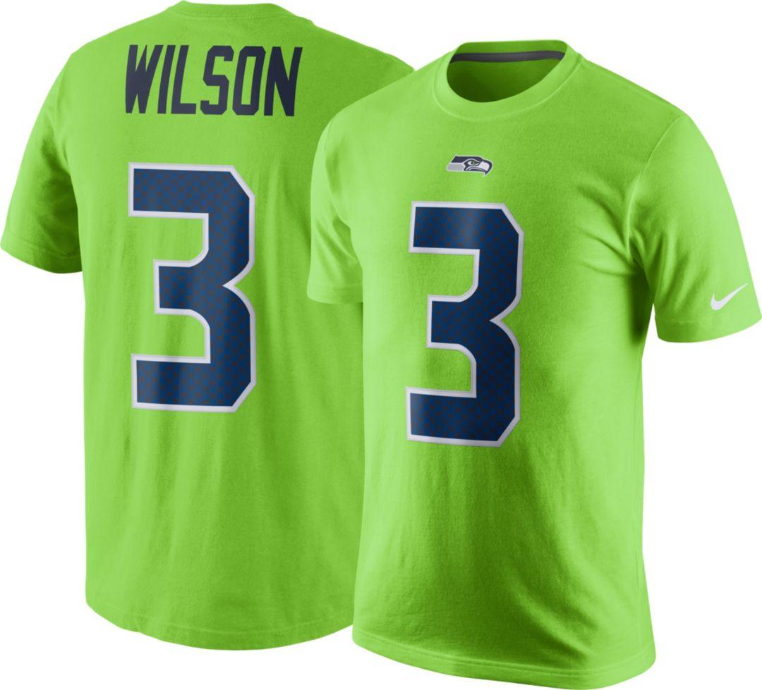 49d28b6de Nike Men's Seattle Seahawks Russell Wilson #3 Color Rush 2017 Pride Green T- Shirt