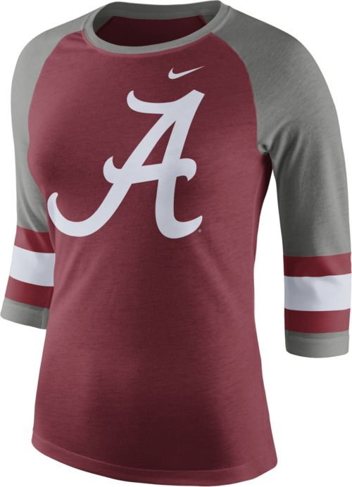13558e1d9f96 Nike Women s Alabama Crimson Tide Crimson Grey Stripe Sleeve Three ...