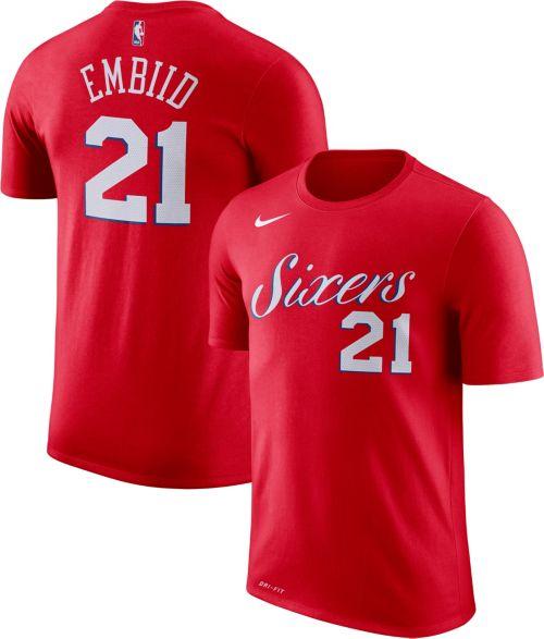 2d28474a6 Nike Youth Philadelphia 76ers Joel Embiid  21 Dri-FIT Red T-Shirt ...