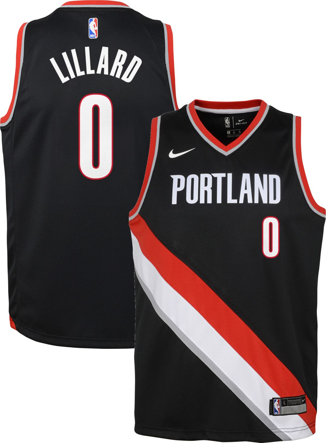 b410e375 Nike Youth Portland Trail Blazers Damian Lillard #0 Black Dri-FIT ...