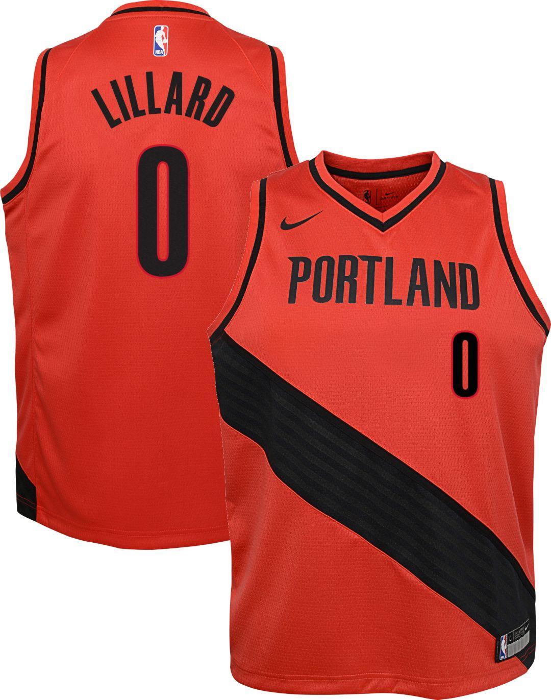 34ff49665 Nike Youth Portland Trail Blazers Damian Lillard #0 Red Dri-FIT ...