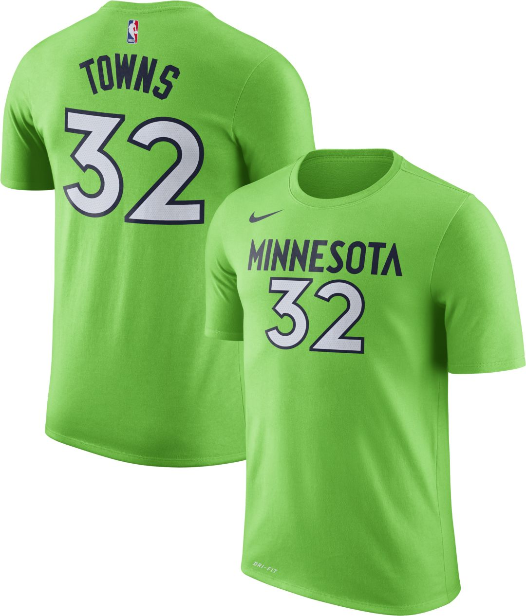 fe2a3f75 Nike Youth Minnesota Timberwolves Karl-Anthony Towns #32 Dri-FIT Green T- Shirt. noImageFound. Previous