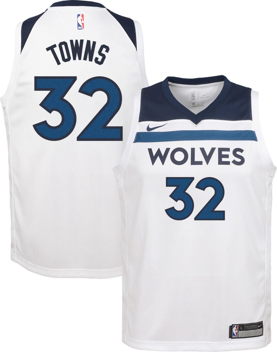 finest selection 6f3f4 e444c Nike Youth Minnesota Timberwolves Karl-Anthony Towns #32 White Dri-FIT  Swingman Jersey
