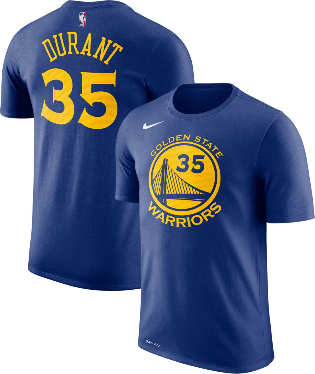 fd9fbde6 Nike Youth Golden State Warriors Kevin Durant #35 Dri-FIT Royal T-Shirt.  noImageFound. Previous