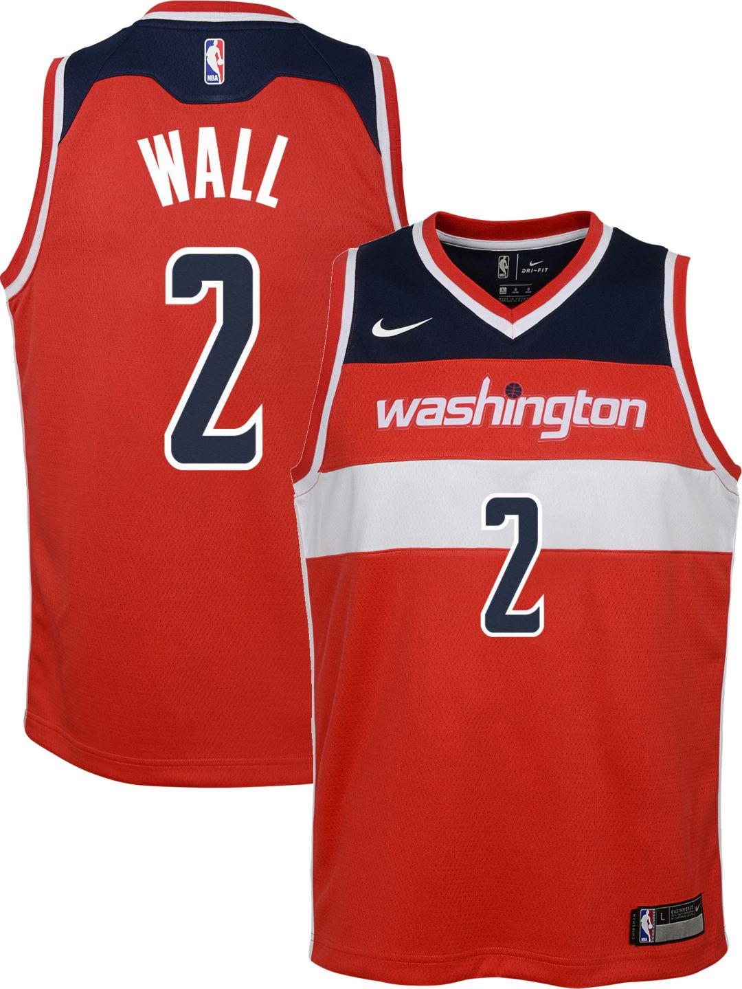 finest selection d4147 e3937 Nike Youth Washington Wizards John Wall  2 Red Dri-FIT Swingman Jersey.  noImageFound. Previous