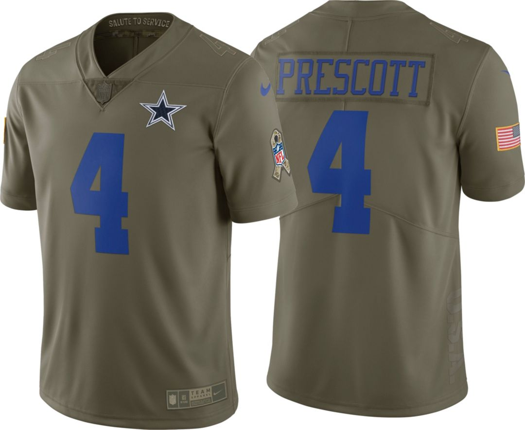 0aaf4c19 Nike Youth Game Salute to Service 2017 Dallas Cowboys Dak Prescott #4 Jersey