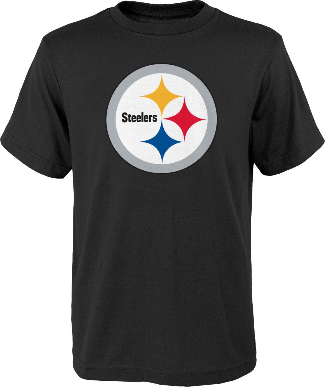 e3e477c8edaa43 NFL Team Apparel Youth Pittsburgh Steelers Logo Black T-Shirt.  noImageFound. Previous