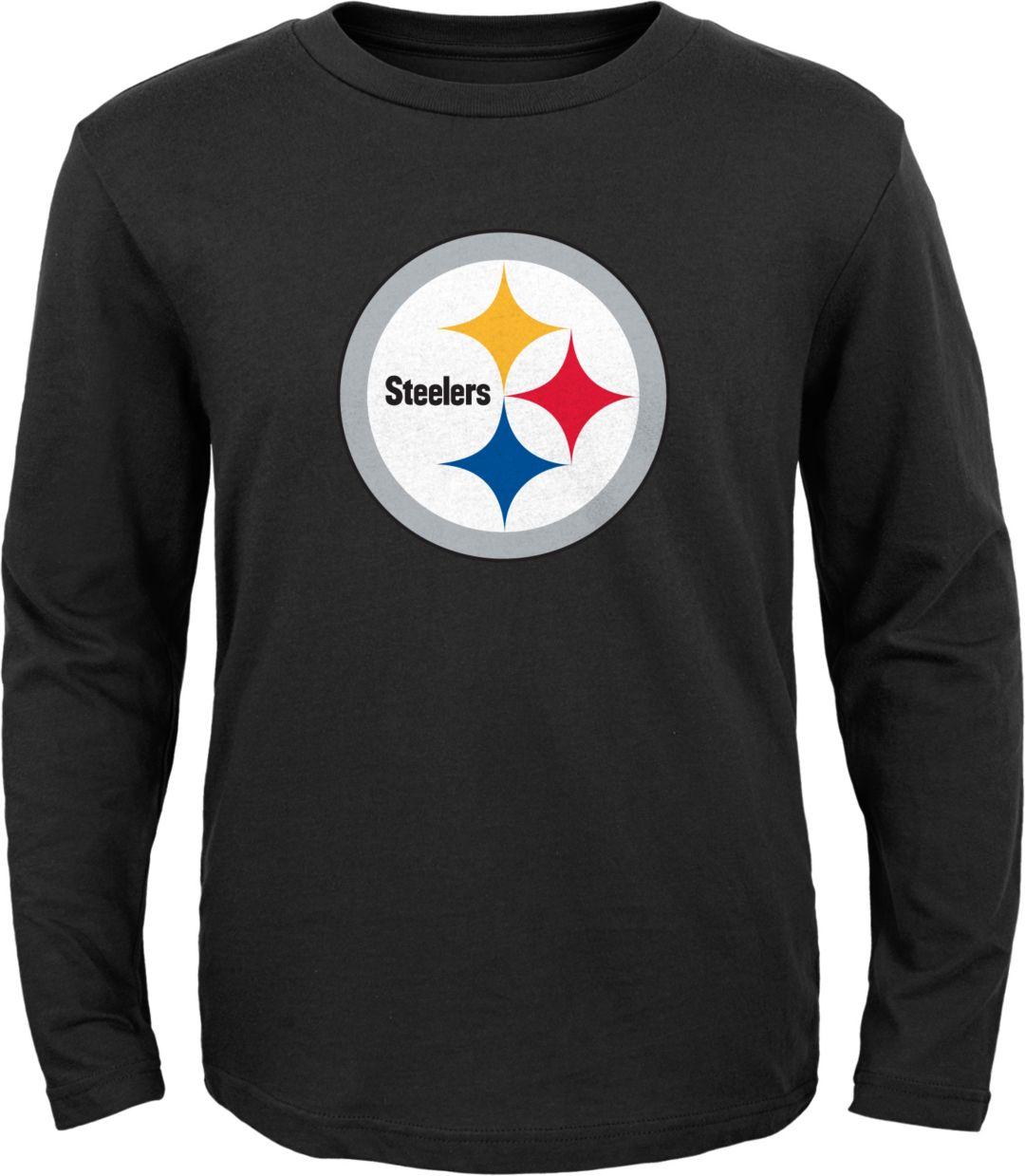 3f1f106f NFL Team Apparel Youth Pittsburgh Steelers Logo Black Long Sleeve Shirt