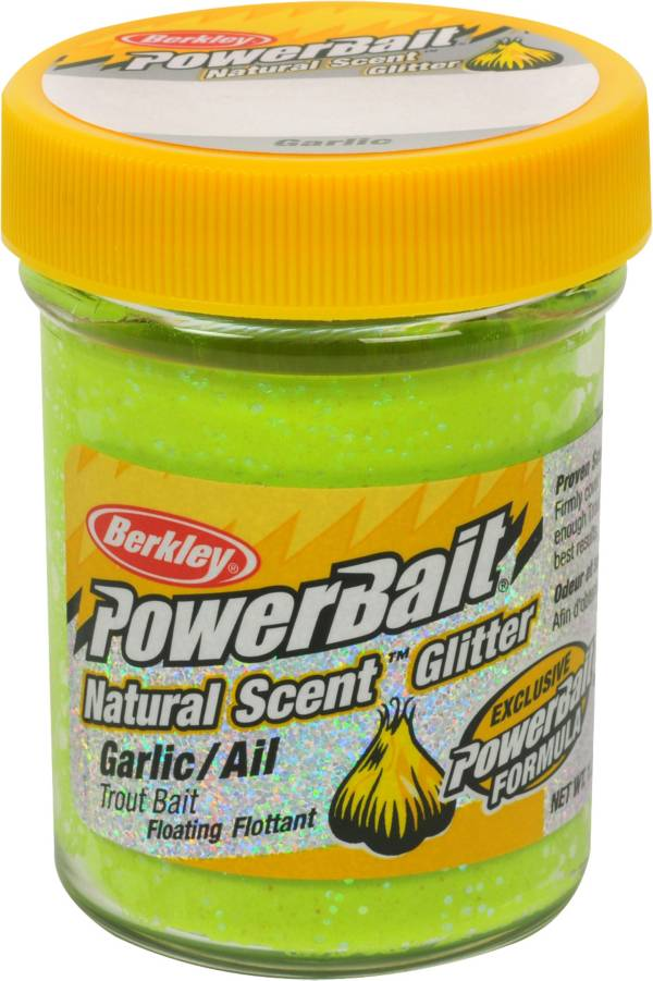 Berkley PowerBait Natural Scent Glitter Trout Dough Bait – Garlic Flavor product image