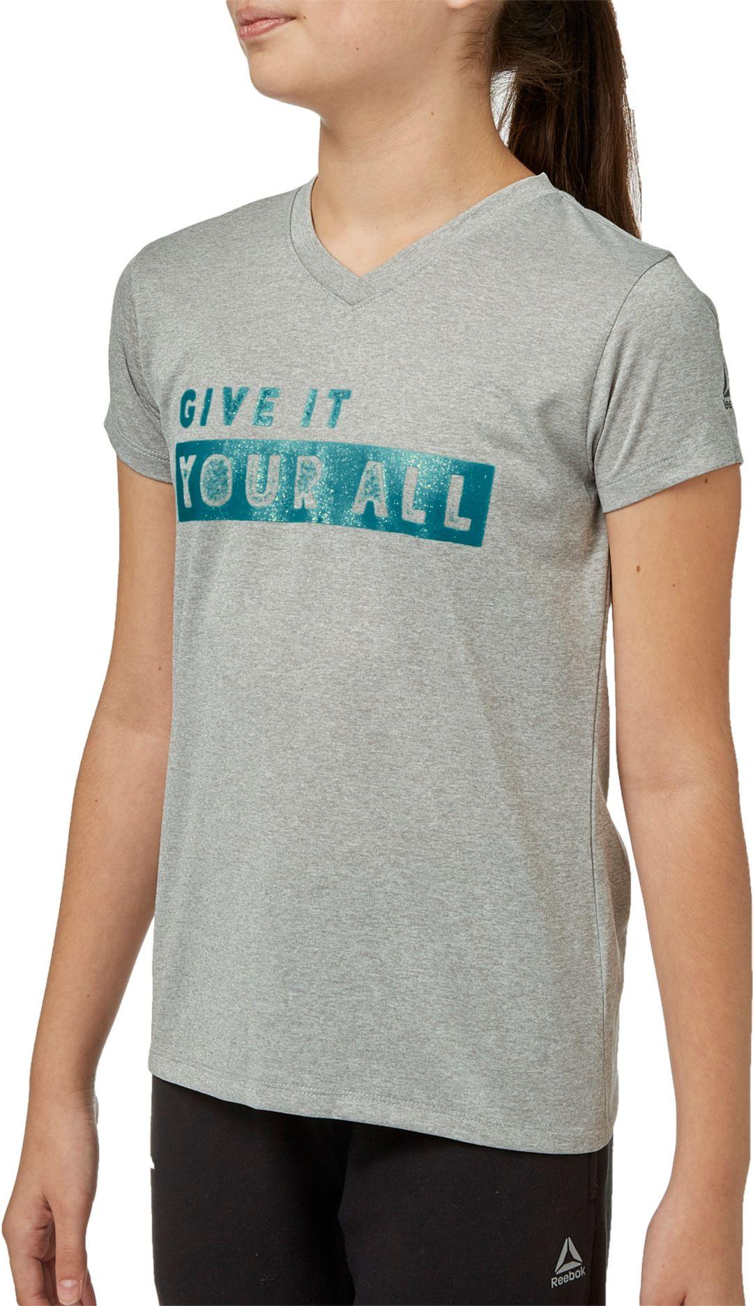 half off c4a5a 8b052 Reebok Girls  Heather Graphic V-Neck T-Shirt. noImageFound. Previous