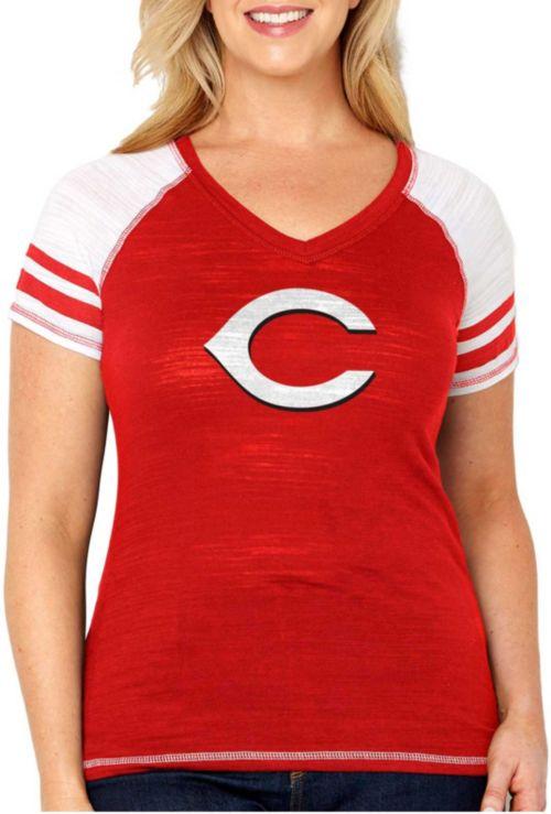 6f983f63d12 Soft As A Grape Women s Cincinnati Reds Tri-Blend V-Neck T-Shirt ...