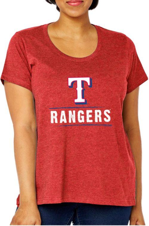 b9f2b103 Soft As A Grape Women's Texas Rangers Tri-Blend Crew T-Shirt - Plus ...