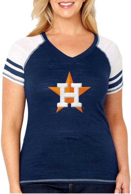 acab27b615e Soft As A Grape Women s Houston Astros Tri-Blend V-Neck T-Shirt ...