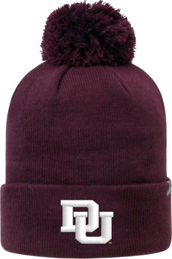 Top of the World Men's Denver Pioneers Crimson Pom Knit Beanie product image