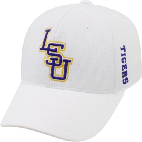 the latest 28d67 fef63 ... authentic top of the world mens lsu tigers white booster plus 1fit flex  hat bd28d 5abab ...
