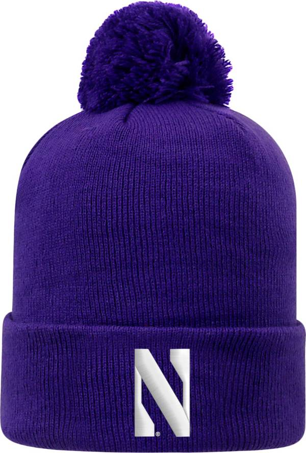 Top of the World Men's Northwestern Wildcats Purple Pom Knit Beanie product image