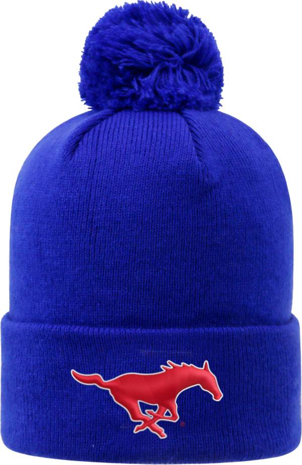 Top of the World Men's Southern Methodist Mustangs Blue Pom Knit Beanie product image
