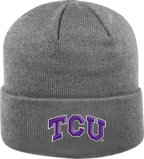 018f3c72fe8 Top of the World Men s TCU Horned Frogs Grey Cuff Knit Beanie ...