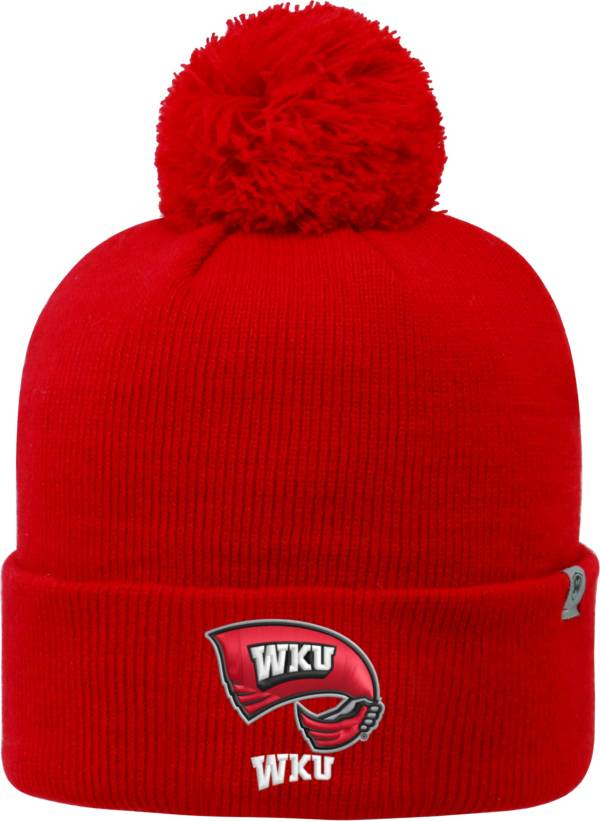Top of the World Men's Western Kentucky  Hilltoppers Red Pom Knit Beanie product image