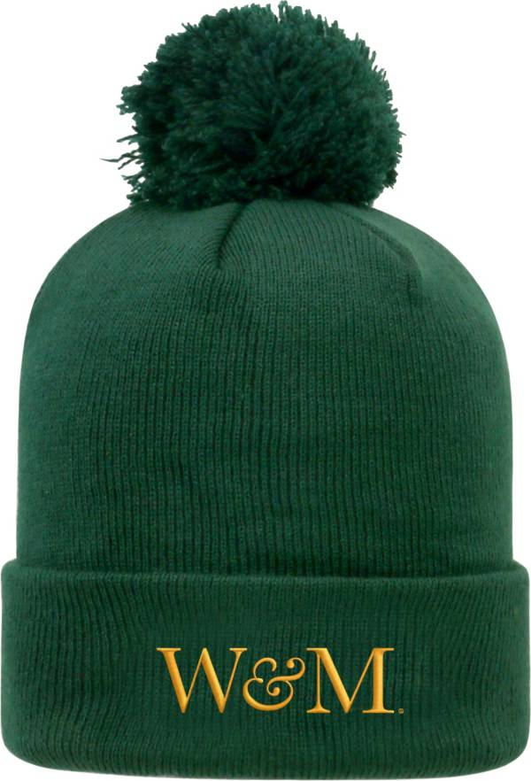 Top of the World Men's William & Mary Tribe Green Pom Knit Beanie product image