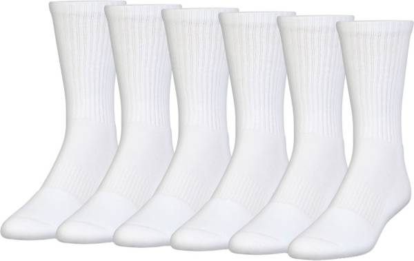 Under Armour UA Charged Cotton Youth Socks White 6PK Size YMD