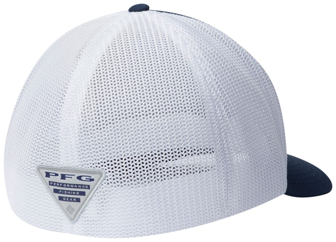 half off aaa63 d8506 Columbia Men s West Virginia Mountaineers Blue White PFG Mesh Fitted ...