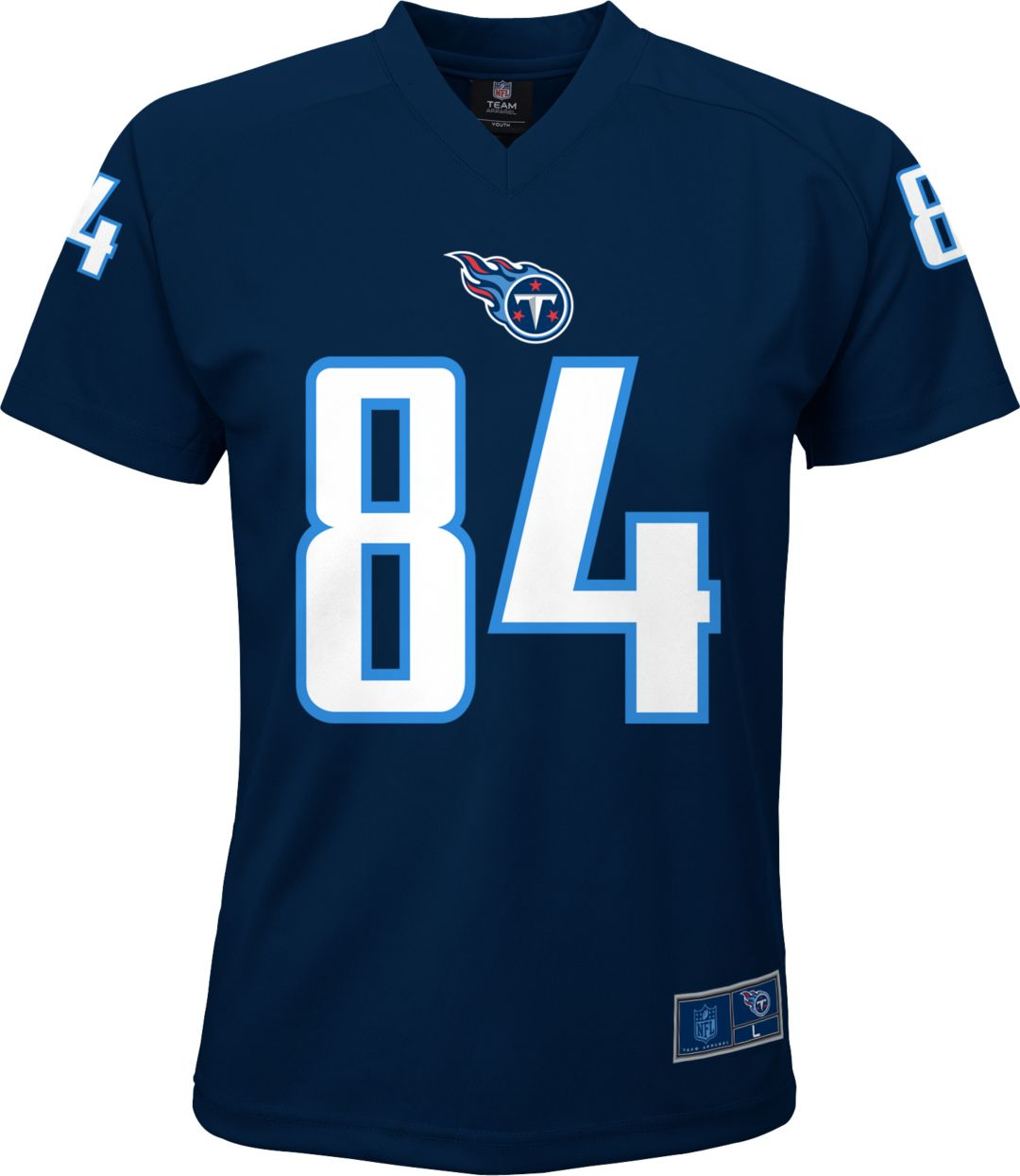 75644be4 NFL Team Apparel Youth Tennessee Titans Corey Davis #84 Performance Navy  T-Shirt