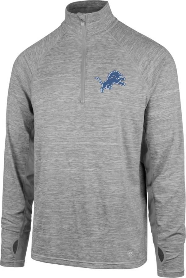 '47 Men's Detroit Lions Forward Grey Quarter-Zip Pullover product image