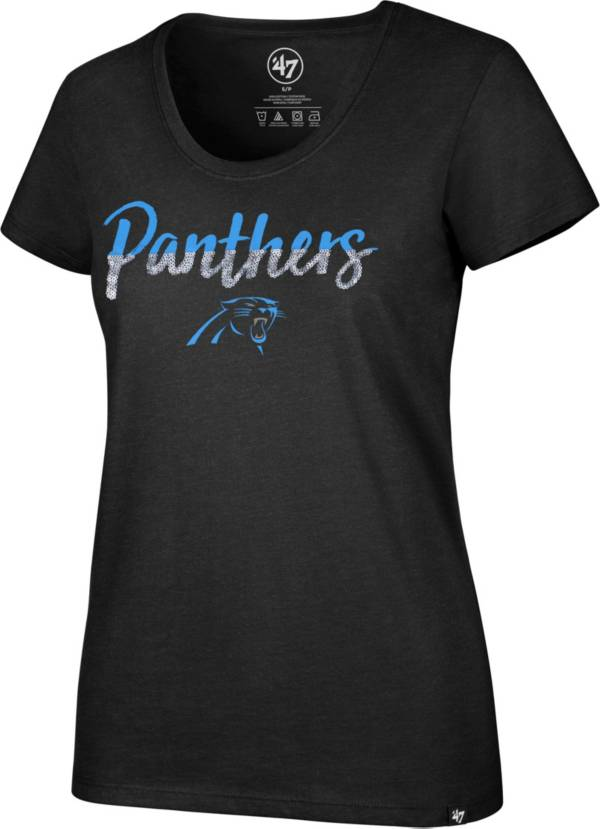 '47 Women's Carolina Panthers Sparkle Dip Black Scoop Neck T-Shirt product image