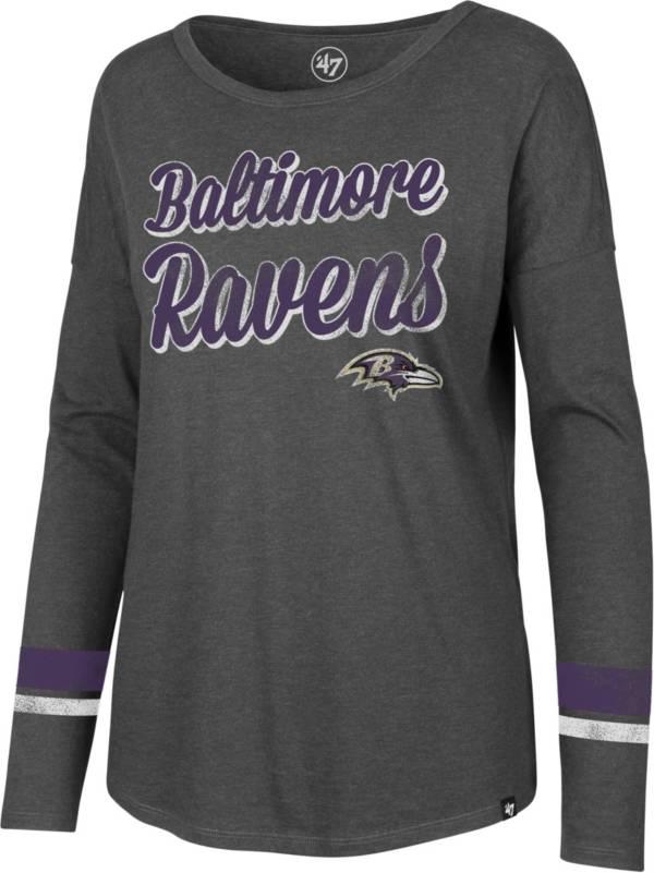 '47 Women's Baltimore Ravens Courtside Grey Long Sleeve T-Shirt product image