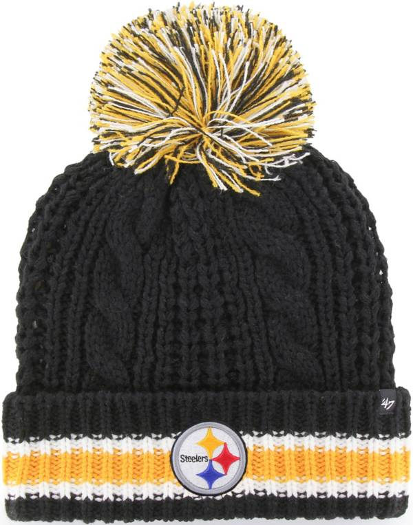 '47 Women's Pittsburgh Steelers Sorority Black Cuffed Pom Knit product image