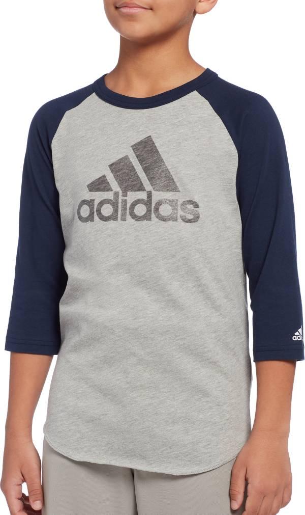 adidas Boys' Triple Stripe ¾ Sleeve Graphic Baseball Shirt product image