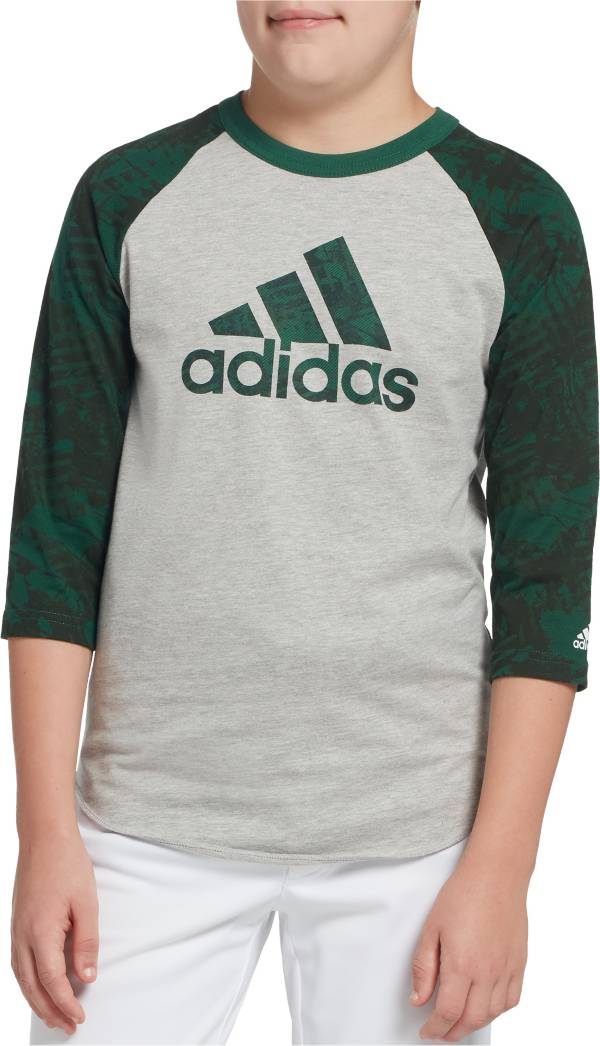 adidas Boys' Triple Stripe Printed ¾ Sleeve Baseball Graphic Shirt product image