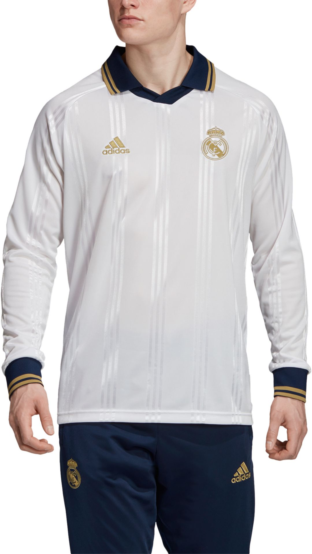 huge discount 8a8b3 44e78 adidas Men's Real Madrid Icons White Long Sleeve Shirt