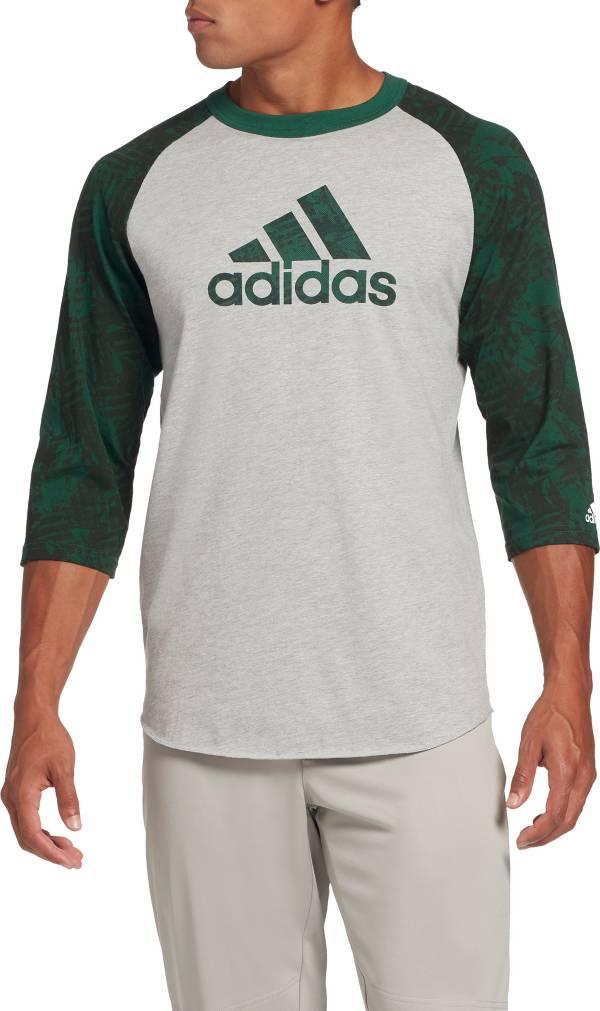 adidas Men's Triple Stripe Printed ¾ Sleeve Baseball Shirt product image