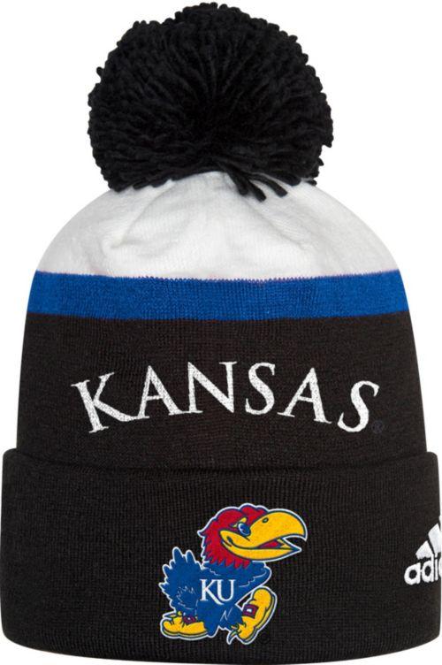 adidas Men s Kansas Jayhawks Cuffed Pom Knit Black Beanie  c35414d4332