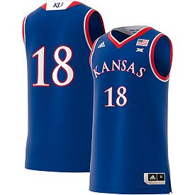 reputable site 88774 8a18f adidas Men's Kansas Jayhawks #18 Blue Replica Basketball Jersey