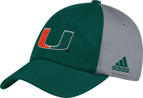adidas Men s Miami Hurricanes Green Grey Slouch Football Sideline ... f406c92dcc6