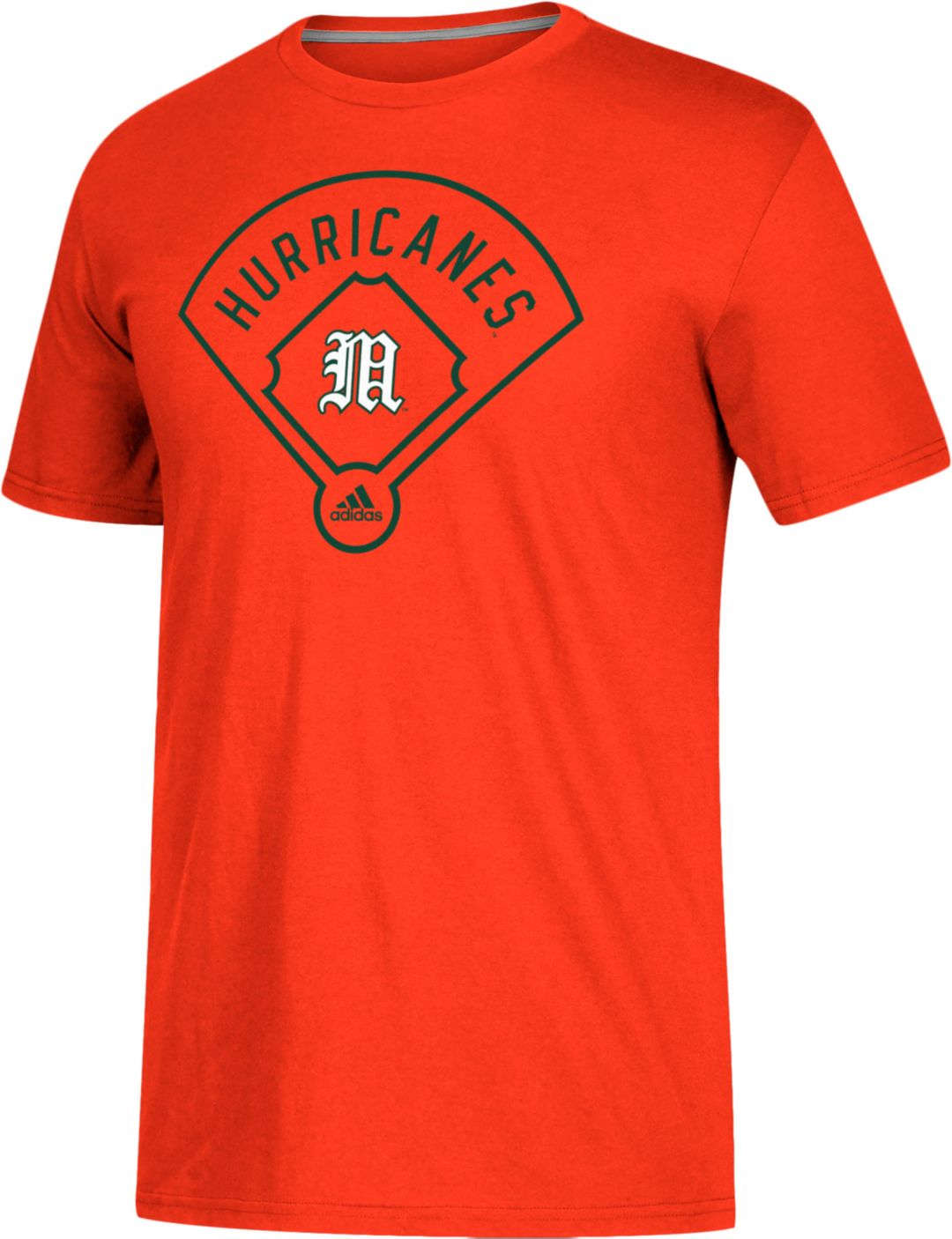 35a404fb adidas Men's Miami Hurricanes Orange 'Around The Horn' Go-To Performance  Baseball T-Shirt