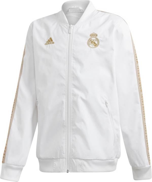adidas Youth Real Madrid Anthem White Full-Zip Jacket product image