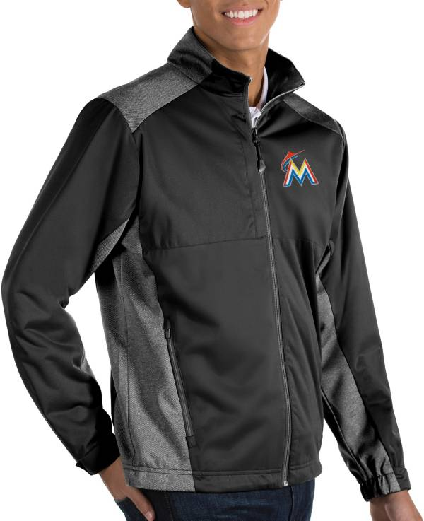 Antigua Men's Miami Marlins Revolve Black Full-Zip Jacket product image