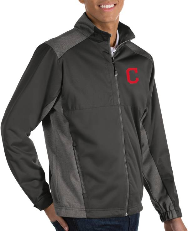 Antigua Men's Cleveland Indians Revolve Grey Full-Zip Jacket product image