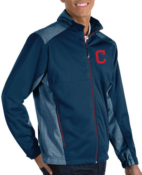 Antigua Men's Cleveland Indians Revolve Navy Full-Zip Jacket product image