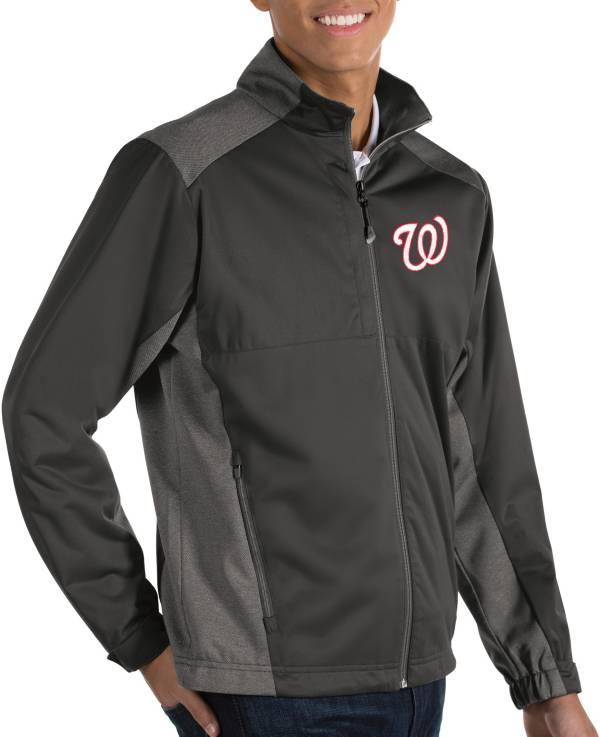 Antigua Men's Washington Nationals Revolve Grey Full-Zip Jacket product image