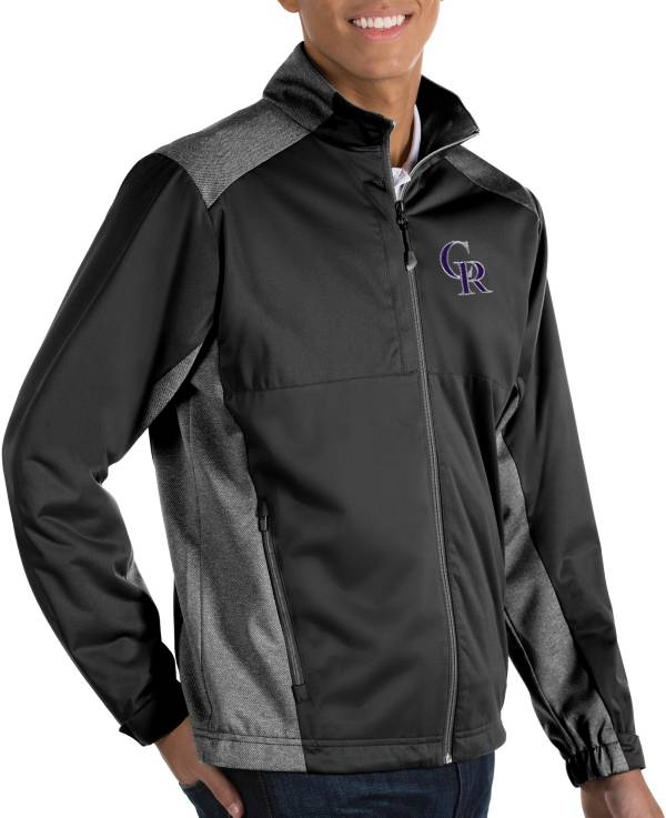 Antigua Men's Colorado Rockies Revolve Black Full-Zip Jacket product image